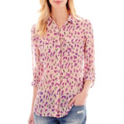 I 'Heart' Ronson® 3/4-Sleeve Roll-Tab Print Blouse