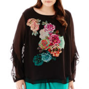 Bisou Bisou® Long-Sleeve Tiered Top - Plus