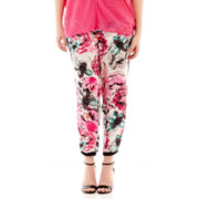 Bisou Bisou® Colorblock Floral Track Pants - Plus