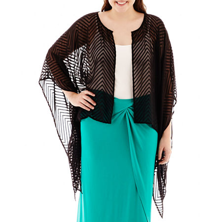 Bisou Bisou 3/4-Sleeve Open-Front Shrug - Plus