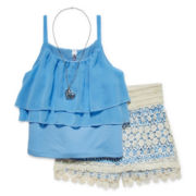 Knit Works® 3-Piece Tank and Shorts Set with Necklace - Girls 7-16 and Plus