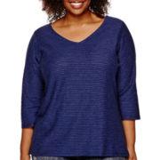 Liz Claiborne® 3/4-Sleeve V-Neck Shadow Striped T-Shirt - Plus