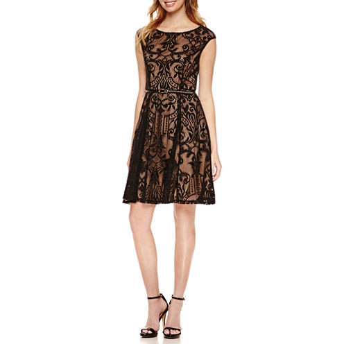 Luxology Cap Sleeve Lace Belted Fit & Flare Dress