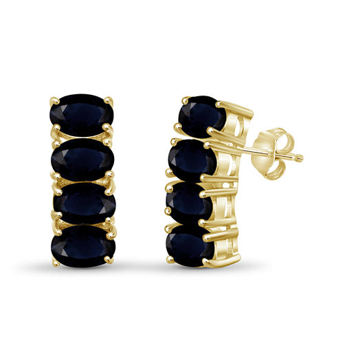 Blue Sapphire 14K Gold Over Silver Hoop Earrings