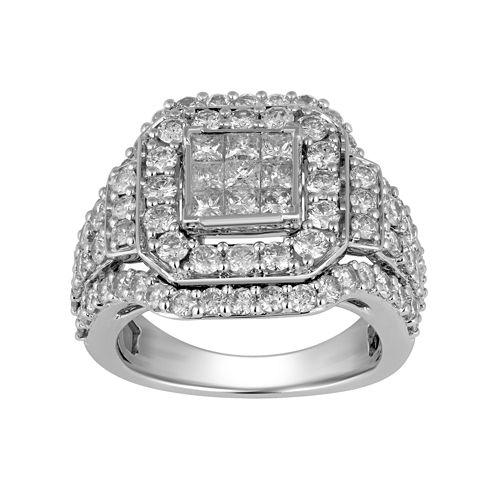 Womens 3 CT. T.W. Genuine Princess White Diamond 10K Gold Engagement Ring