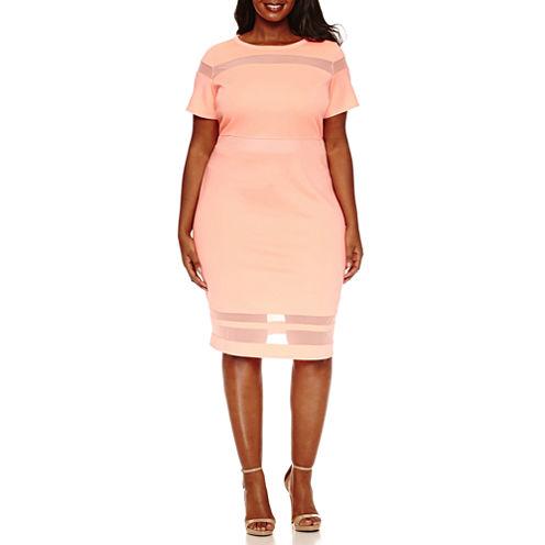 Boutique + Mesh Insert Bodycon Dress-Plus
