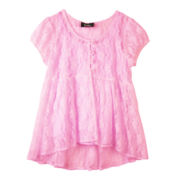 by&by Girl Short-Sleeve Babydoll Lace Top - Girls 7-16