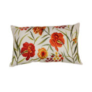Embroidered Floral Decorative Pillow