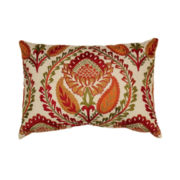 Embroidered Center Floral Decorative Pillow