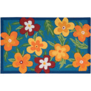 Nourison® Blue Floral Utility Rectangular Rug