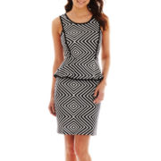 Worthington® Sleeveless Print Peplum Dress