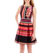 Danny & Nicole® Sleeveless Striped Shantung Dress