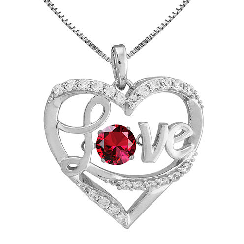 Love in Motion™ Lab-Created Ruby Sterling Silver Love Pendant Necklace