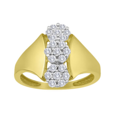 jcpenney.com | diamond blossom 1/2 CT. T.W. Diamond 10K Yellow Gold Triple-Cluster Ring