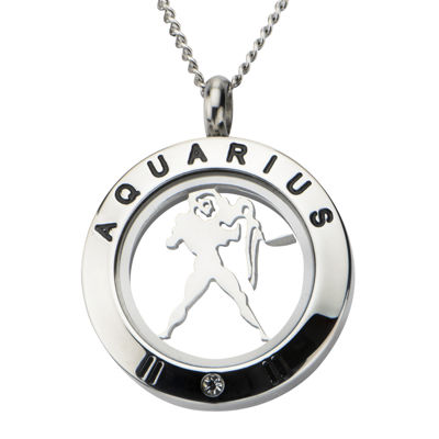 Aquarius Zodiac Cubic Zirconia Stainless Steel Locket Pendant Necklace
