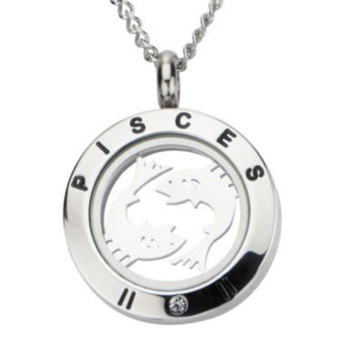 jcpenney.com | Pisces Zodiac Cubic Zirconia Stainless Steel Locket Pendant Necklace
