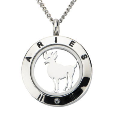 jcpenney.com | Aries Zodiac Cubic Zirconia Stainless Steel Locket Pendant Necklace
