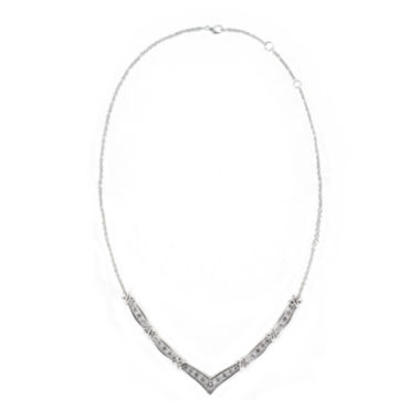 "jcpenney.com | DiamonArt® Cubic Zirconia Sterling Silver Chevron ""X"" Necklace"