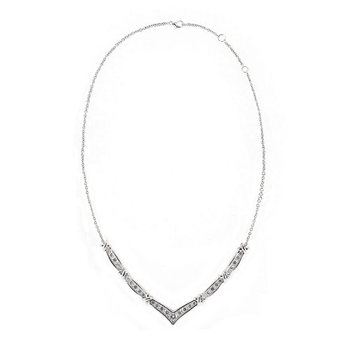 "DiamonArt® Cubic Zirconia Sterling Silver Chevron ""X"" Necklace"