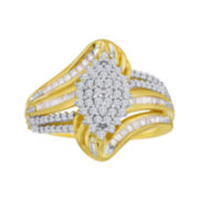 1/2 CT. T.W. Diamond 14K Yellow Gold Over Sterling Silver Cluster Ring