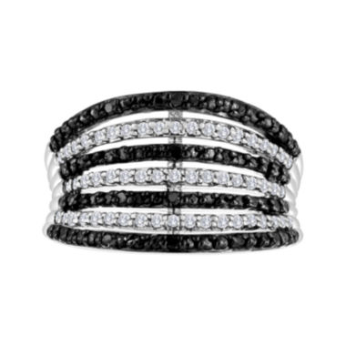 jcpenney.com | 1/2 CT. T.W. White and Color-Enhanced Black Diamond 7-Row Band Ring