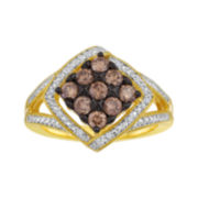 3/4 CT. T.W. White and Champagne Diamond Frame Ring