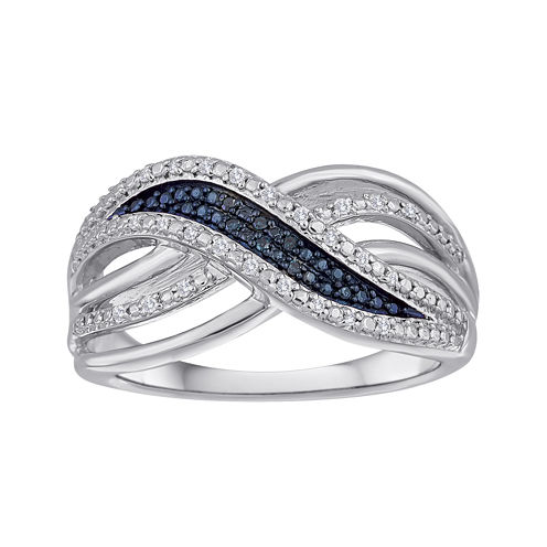 1/10 CT. T.W. White and Color-Enhanced Blue Diamond Crossover Ring