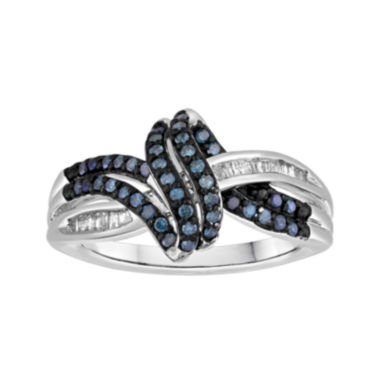 jcpenney.com | 1/3 CT. T.W. White and Color-Enhanced Blue Diamond Swirl Ring