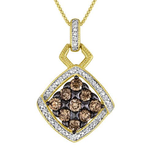 3/4 CT. T.W. White and Champagne Diamond Pendant Necklace