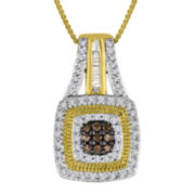 1/3 CT. T.W. White and Color-Enhanced Champagne Diamond Pendant