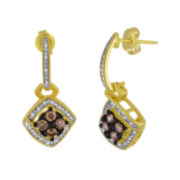 3/4 CT. T.W. White and Color-Enhanced Champagne Diamond Earrings