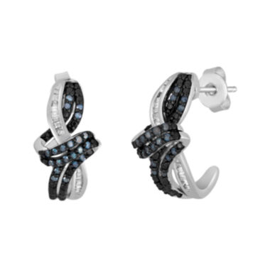 jcpenney.com | 1/3 CT. T.W. White and Color-Enhanced Blue Diamond Swirl Earrings