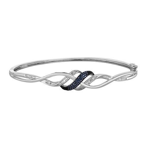 1/3 CT. T.W. White and Color-Enhanced Blue Diamond Swirl Bangle Bracelet