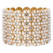 Natasha Simulated Pearl and Crystal Stretch Bracelet
