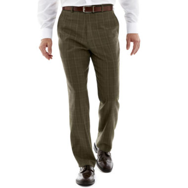 jcpenney.com | Stafford® Travel Olive Plaid Flat-Front Suit Pants