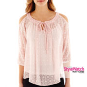 by&by 3/4-Sleeve Cold-Shoulder Woven Top