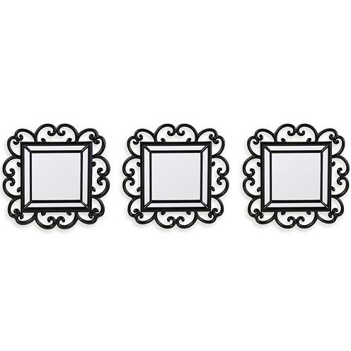 Set of 3 Black Scroll Mirrors