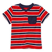 Okie Dokie® Short-Sleeve Striped V-Neck Tee - Boys 12m-24m