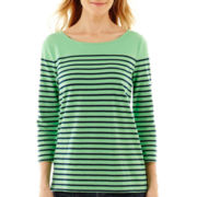 Liz Claiborne® 3/4-Sleeve Boatneck Striped Tee