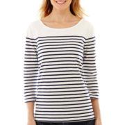 Liz Claiborne® 3/4-Sleeve Boatneck Striped Tee