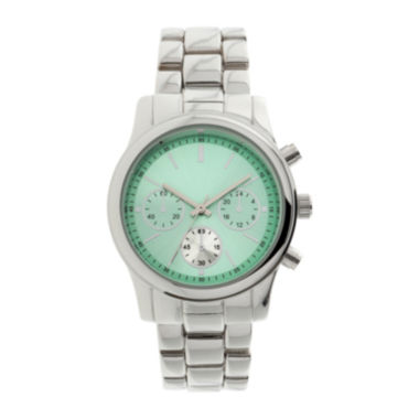 jcpenney.com | Womens Mint Dial Silver-Tone Bracelet Watch