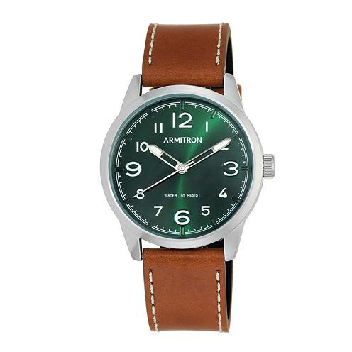 Armitron® Mens Brown Leather Strap Watch