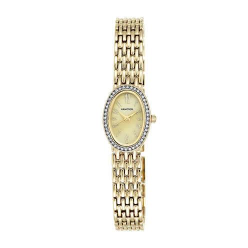 Armitron® Womens Gold-Tone Oval Bracelet Watch