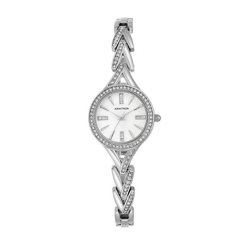 Armitron® Womens Crystal Silver-Tone Round Bangle Watch