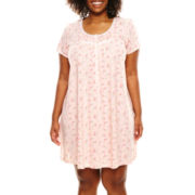 adonna® Short-Sleeve Knitted Nightshirt - Plus