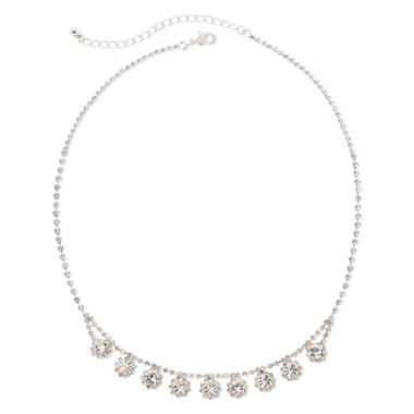 jcpenney.com | Vieste® Silver-Tone Crystal Floral Drop Necklace
