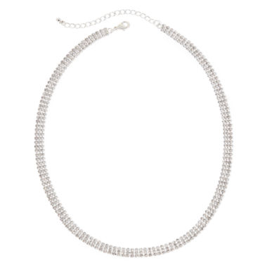 jcpenney.com | Vieste® Silver-Tone Crystal 3-Row Collar Necklace