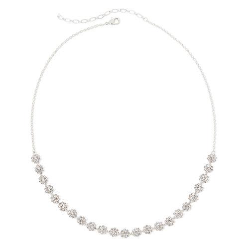 Vieste® Crystal Silver-Tone Floral Collar Necklace