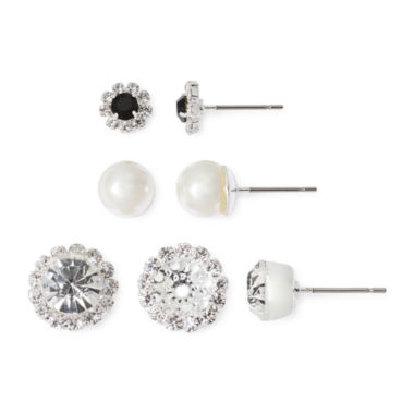 jcpenney.com | Vieste® 3-pr. Crystal and Simulated Pearl Earring Set