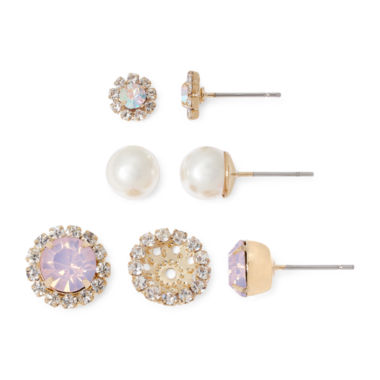 jcpenney.com | Vieste® Crystal and Simulated Pearl Silver-Tone 3-pr. Earring Set and Jacket